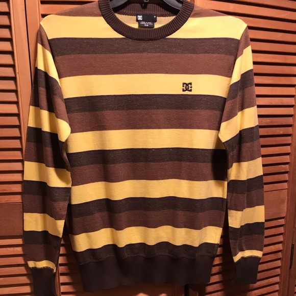 DC Other - DC Brown, Tan & Yellow Striped Crewneck Sweater